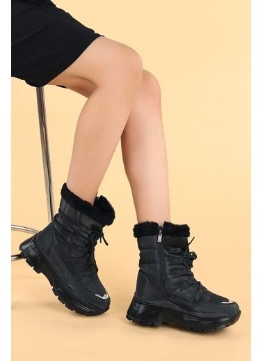 Ayakland Twg 7455 Kışlık Içi Termal Kürklü Kadın Ayakkabı Kar Botu Siyah